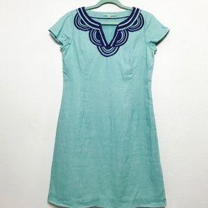 Boden Blue Embroidered Linen Shift Dress Sz 6